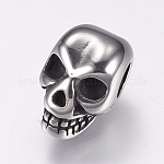 316 Stainless Steel European Beads, Large Hole Beads, Skull, Antique Silver, 12.5x8x8.5mm, Hole: 4mm