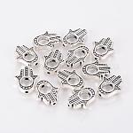 Cadres de perles en alliage de style tibétain, sans cadmium et sans nickel et, sans plomb, hamsa main / main de fatima / main de miriam, argent antique, taille: environ 15.5 mm de long,  largeur de 13 mm, épaisseur de 3mm, Trou: 1mm, intérieur: 5 mm, 690 pcs / 1000 g