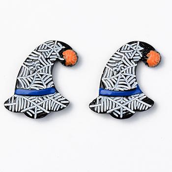 Хэллоуин тема шляпа ведьмы непрозрачные кабошоны из смолы, с рисунком паутины, белые, чёрные, 26.5x21.5x4.5 мм