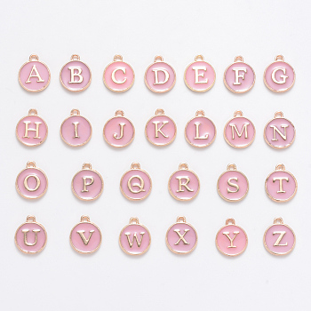 Golden Plated Alloy Enamel Charms, Enamelled Sequins, Flat Round with Alphabet, Letter A~Z, Turquoise, Pink, 14x12x2mm, Hole: 1.5mm; 26pcs/set