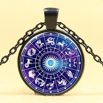 Glas-Anhänger, Halsketten, mit Leichtmetallketten, flache Runde mit Sternbild / Sternzeichen, Metallgrau, 18
