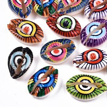 Печатные натуральные бусы из ракушки, нет отверстий / незавершенного, с рисунком сглаза, разноцветные, 18~22x13~14x6~8 мм