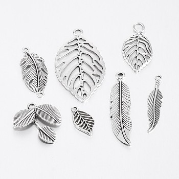 Mixed Style Tibetan Style Alloy Leaf Pendants, Antique Silver, 19~47x10~26x2~4mm, Hole: 2~4mm, about 50pcs/100g