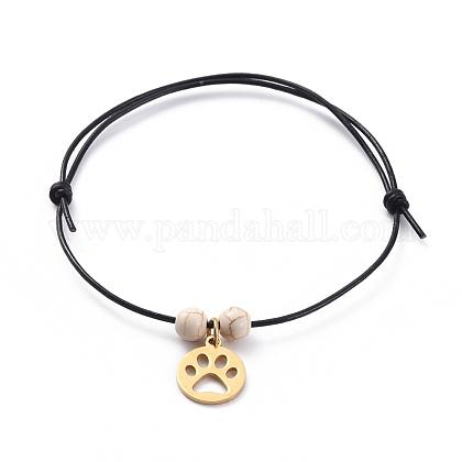 Conjuntos de pulseras de cordón de cuero de vaca ajustables unisexBJEW-JB04972-04-1