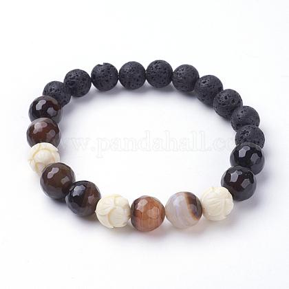 Natural Lava & Striped Agate/Banded Agate  Stretch BraceletsBJEW-JB03441-01-1