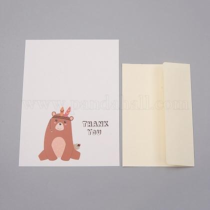 Ensemble de cartes de remerciement enveloppe et motif animalDIY-WH0161-22A-1