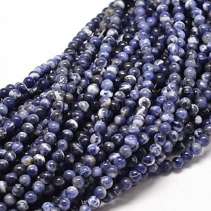 Natural Sodalite Round Bead Strands G-P072-27-8mm-1