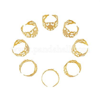 Latón vástagos anillo de filigranaKK-TA0007-24G-1