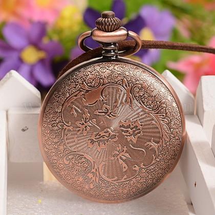 馬のデザイン合金ガラスペンダント懐中時計と開閉可能なフラットラウンドWACH-L024-01-1