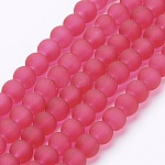 Transparent Glass Bead Strands, Frosted, Round, Crimson, 6mm, Hole: 1.3~1.6mm; about 140pcs/strand, 31.4 inches