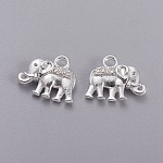 Vintage Elephant Charms, Tibetan Style Charms, Lead Free and Nickel Free, Silver Color Plated, 12x14x2.5mm, Hole: 1mm