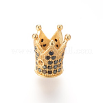 Brass Micro Pave Cubic Zirconia Bead, Crown, Golden, 12x10mm, Hole: 1~5mm