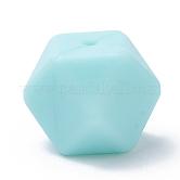 Abalorios de silicona ambiental de grado alimenticio, masticar cuentas para mordedores, diy collares de enfermería haciendo, cubo facetas, azul turquesa, 17x17x17mm, agujero: 2 mm