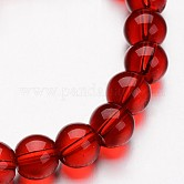 Glass Round Bead Strands, Red, 8mm, Hole: 1mm; about 40pcs/strand, 11