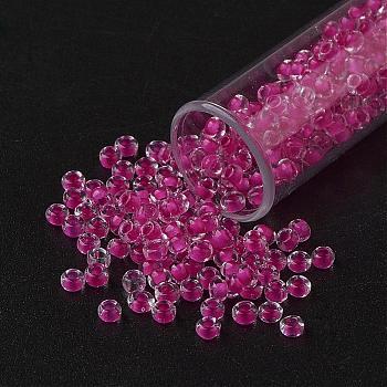Cuentas de semillas de vidrio transparente fgb 11/0, color en el interior, camelia, 2.3x1.5mm, Agujero: 1 mm; aproximamente 5300 unidades / 50 g