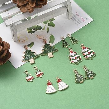 Tema de la Navidad, Colgantes de esmalte de aleación, árbol de Navidad, la luz de oro, color mezclado, 12 PC / sistema