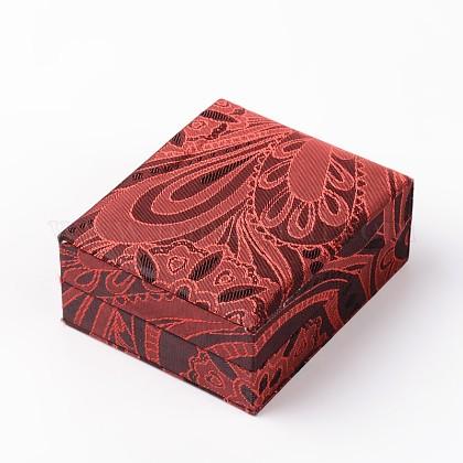 Rectángulo chinoiserie cajas colgantes de seda bordadaOBOX-F002-34-1