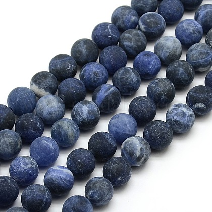 Chapelets de perles rondes en sodalite mate naturelleG-M064-14mm-01-1