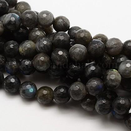 Grade AA Natural Gemstone Labradorite Faceted Round Beads StrandsG-E251-32-12mm-1
