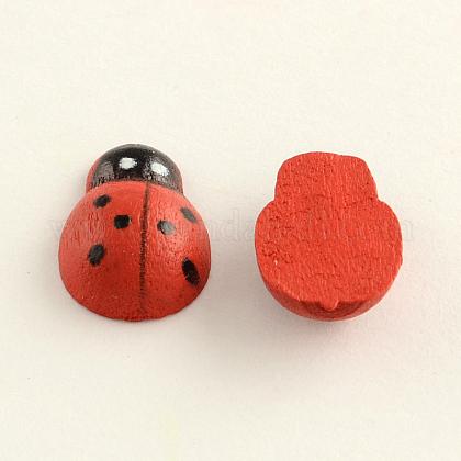 Dyed Ladybug Wood CabochonsWOOD-Q018-50C-1