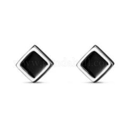 Tinysandスターリングシルバーシンプルなスクエアスタッドピアス  プラチナ  10.87x10.87mmTS-E297-C-1