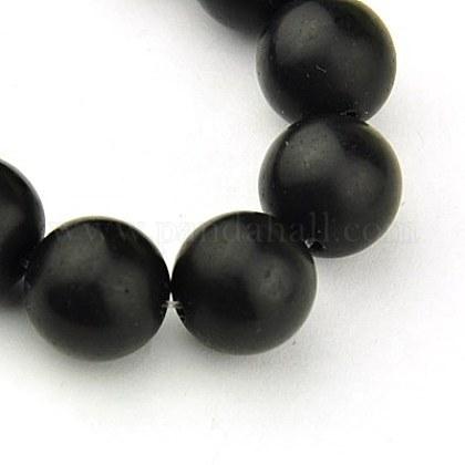 Cuentas sintéticas piedras negras hebrasG-G508-6MM-1