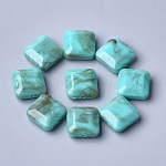 Acrylic Beads, Imitation Gemstone, Faceted, Square, DarkTurquoise, 15.5x15.5x7.5mm, Hole: 1.6mm; about 327pcs/500g