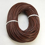 Cowhide Leather Cord, Leather Jewelry Cord, Jewelry DIY Making Material, Round, Dyed, SaddleBrown, 2mm