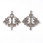 Tibetan Style Alloy Rhombus Chandelier Component Links, Lead Free and Cadmium Free, Antique Silver Color, 36x30x2mm, Hole: 1.5mm