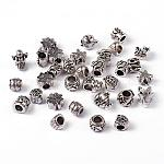 Alloy European Beads, Large Hole Beads, Antique Silver Color, Size: about 7~13mm long, round: 4~5mm in diameter