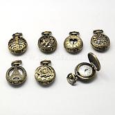 Aleación de zinc cabezas reloj de cuarzo hueco de la vendimia, para reloj de bolsillo el collar del colgante, plano y redondo, estilo mezclado, Bronce antiguo, 36x27x12mm, agujero: 10x1 mm