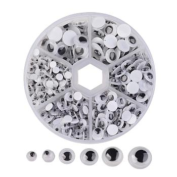 4mm~9mm Mixed Size Black & White Wiggle Googly Eyes Cabochons DIY Scrapbooking Crafts Toy Accessories, about 600pcs