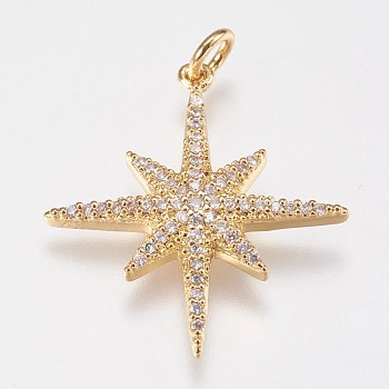 Brass Micro Pave Cubic Zirconia Pendants, Star, Real 18K Gold Plated, 25x23x3mm, Hole: 3mm