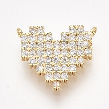 Colgante micropavé cubic zirconia de latón, corazón, Claro, dorado, 14.5x16.5x2mm, agujero: 1 mm