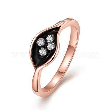 Real Rose Gold Plated Tin Alloy Enamel Leaf Finger RingsRJEW-BB04839-8B-1