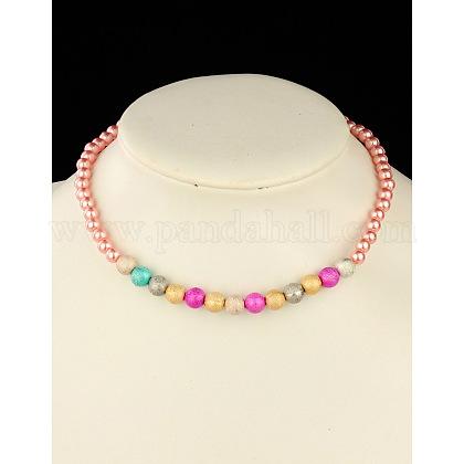 Collar de abalorios de imitación de acrílico de moda para los niñosNJEW-JN00425-03-1