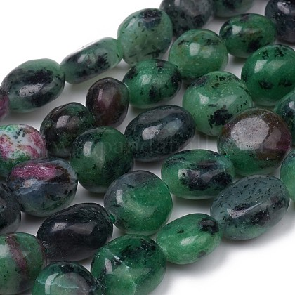 Rubí natural en hebras de abalorios zoïsiteG-L493-58-1