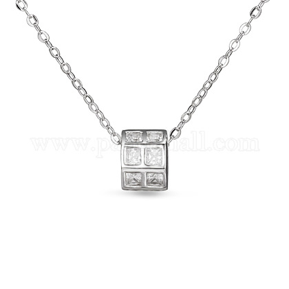 TINYSAND® 925 Sterling Silver CZ Diamond Column Pendant Necklace TS-N222-S-1