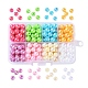 8 Color Plating Environmental Poly Styrene Acrylic Beads, Plated with AB Color, Round, with 8 Compartments Plastic Bead Container, Mixed Color, 8mm, Hole: 1mm, about 240pcs/box