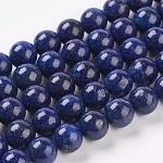 Abalorios de lapislázuli naturales hebras, teñido, redondo, azul, 10mm, agujero: 1 mm; aproximamente 19 unidades / cadena, 7.6 pulgada