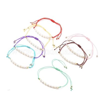 Bracelets réglables de perles tressées avec cordon en nylonBJEW-JB05489-1
