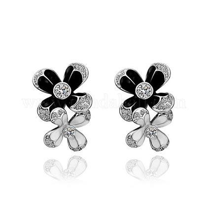 Elegant Tin Alloy Enamel Flower Stud EarringsEJEW-BB13573-A-P-1
