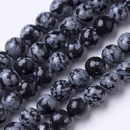 Granos de obsidiana de copos de nieve naturales hebrasG-D855-11-8mm-1