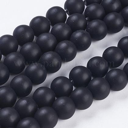 Synthetic Black Stone Bead StrandsG-R345-10mm-38-1-1