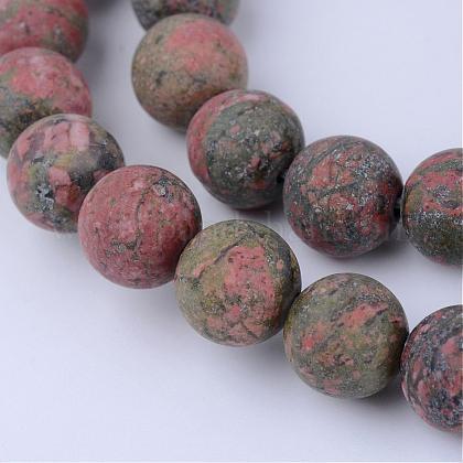 Chapelets de perles en unakite naturelleG-Q462-8mm-16-1