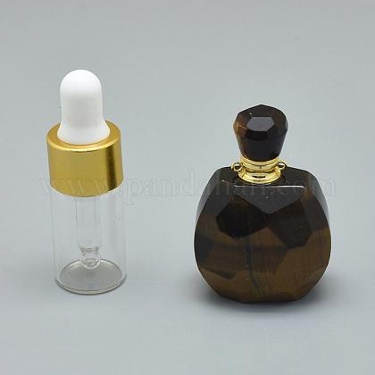 Colgantes de botella de perfume que se pueden abrir con ojos de tigre naturalG-E556-20G-1