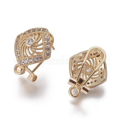 Brass Micro Pave Cubic Zirconia Stud Earring FindingsKK-O121-16G-1