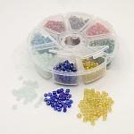 1箱6/0ガラス種ビーズ透明色レインボーDIY緩いスペーサーミニガラスシードビーズ, ミックスカラー, 4mm, 穴:1mm