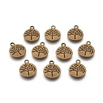 Flat Round with Tree Tibetan Style Alloy Pendants, Cadmium Free & Nickel Free & Lead Free, Antique Bronze, 18.5x15x2mm, Hole: 2mm