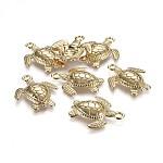 Tibetan Style Alloy Pendants, Ocean Theme, Lead Free & Nickel Free & Cadmium Free, Sea Turtle, Real 14K Gold Plated, 28.5x24.5x4.5mm, Hole: 2.5mm